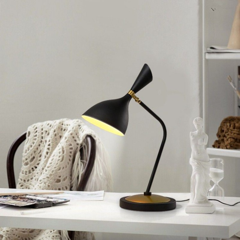 White or black shade metal base led flexible desk lamp table light for reading room