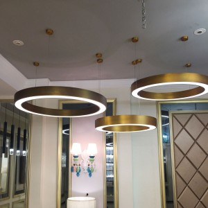 Individual Postmodern Lightweight Luxury Metal Stainless Steel Ring Acrylic Circle Living Room Lighting Mall Front Office Ring Chandelier